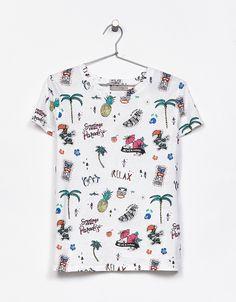 Camiseta algodón estampado all over - Camisetas - Bershka España