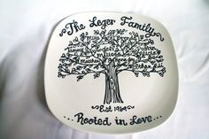 Personalized Family Tree Plate Custom Name Grandparents Anniversary Grandmother Mother New Baby Wedding Plate on Etsy, $25.00