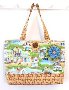 Summer Times - Large Beach Bag Market Tote Quilted Handbag - Scenic Beachy Nostalgic Seaside Cottage Life print fabric Purse by Calico Caps® Large Beach Bags, Fabric Purses, Quilted Handbags, Panama City Beach, Visors, Florida Usa, Summer Time, Seaside, Printing On Fabric