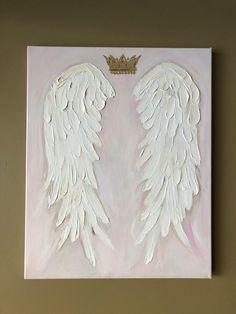 Angel Wings Painting, Angel Drawing, Angel Art, Crown Painting, Diy Painting, Painting & Drawing, Swan Painting, White Angel Wings, Feather Angel Wings