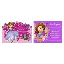 Sofia the First Invitation and Thank You Note Set for 8 Guests. One package contains 8 Sofia the First Invitations with 8 White Envelopes, and 8 Thank You Note Postcards. Find it at http://www.ezpartyzone.com/pd-sofia-the-first-invitation-and-thank-you-note-set-for-8-guests.cfm
