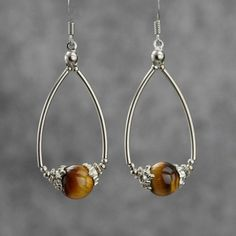 tiger eye dangleing hoop earrings Bridesmaids gifts Free US Shipping handmade anni designs