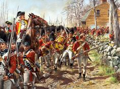 The British retreat from Concord to Boston, flanked on both sides by Colonial Minute Men
