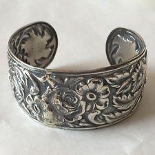 Sterling silver oxidized wide cuff bracelet, signed S.Kirk &Son Lot 217