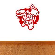 Eat Sleep Game Gaming Wall Sticker Decal Boys Wall Stickers, Polka Dot Wall Decals, Wall Stickers Quotes, Polka Dot Walls, Gaming Wall Art, Personalized Wall Art, Little Girl Rooms, Eat Sleep, Britain