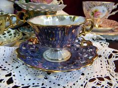 Vintage Demitasse Pearlized Iridescent Footed Teacup and Reticulated Saucer Japan