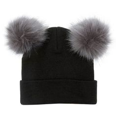 New Look Black Double Faux Fur Pom Pom Beanie Hat ($11) ❤ liked on Polyvore featuring accessories, hats, black, beanie hats, pompom hat, pom beanie, faux fur hat and fake fur hats