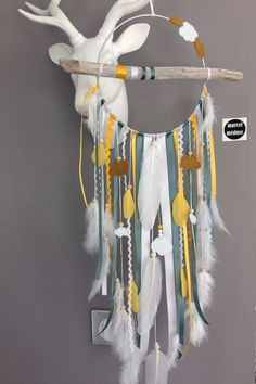Dream catcher in white, mustard and blue/green Driftwood with clouds Cloud Fabric, Dream Catcher Native American, Boho Diy, Diy Arts And Crafts, Metallic Paint, Wooden Beads, Etsy, Decoration, Weaving