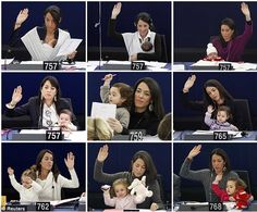 Vittoria growing up as she attends various voting sessions at the European Parliament in Strasbourg