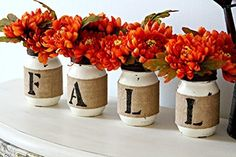 Rustic Fall Table Decor in Old White and Dark Brown,Autumn Table or Fireplace Decoration, Farmhouse Home Decor, fall decor, home decor, autumn decor, thanksgiving decor, flowers, vases, home decor, seasonal decor, diy projects, rustic decor, farmhouse decor, mason jar, diy mason jar projects, paint, letter decor, table centerpiece. easy to make #afflink
