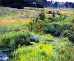"""The Brook at Medfield,"" Dennis Miller Bunker, 1889, oil on canvas, Isabella Stewart Gardner Museum (I have also seen this painting listed as belonging to the MFA, Boston, but I don't see it on either the Gardner or MFA web sites.)"