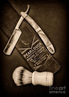 Barber - Tools For A Close Shave - Black And White Photograph