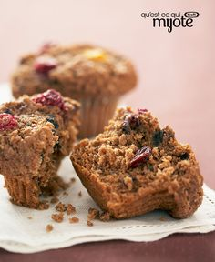 Muffins de son aux canneberges #recette