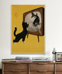Look at this #zulilyfind! Cat & A Fish Vintage Poster Wrapped Canvas #zulilyfinds