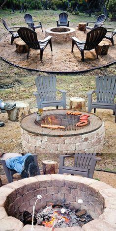 Pergola Patio Dining - - Backyard Pergola With Roof - Pergola Terrasse Plante - - Garden Fire Pit, Diy Fire Pit, Fire Pit Backyard, Backyard Patio, Backyard Ideas, Backyard Seating, Firepit Ideas, Patio Ideas, Backyard Fireplace