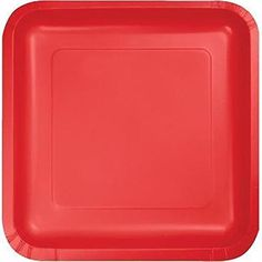 """Custom & Unique {9"""" Inch} 18 Count Bulk Multi-Pack Set of Medium Size Square Disposable Paper Plates w/ Simple Modern Plain Christmas X-Mas Celebration Party """"Bright Red Colored"""" mySimple Products"""