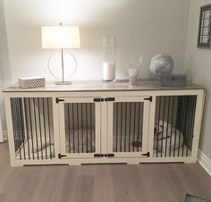 """""""XL double doggie den in our Farmhouse. Finish with a grey top instead of coffee."""" Here's how they are made: https://bbkustomkennels.com/"""