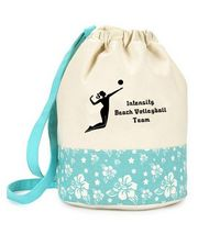 Volleyball bag  Volleyball Custom Drawstring Duffle Bag in pink or green hibiscus. Add your team name or whatever you like! #VolleyballDrawstringBag