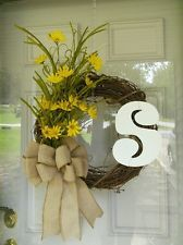 "181/2"" floral, initial grapevine wreath"