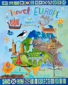 """""""Travel Europe"""" kids wall art by Donna Ingemanson for Oopsy Daisy, Fine Art For Kids $159"""