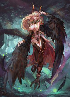 Sexy harpy / birdwoman fantasy world, dark fantasy, anime fantasy, dark for Art Manga, Art Anime, Fantasy Women, Fantasy Girl, Character Inspiration, Character Art, Character Concept, Fantasy Warrior, Monster Girl