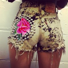 Flower print gold studded fringe Jean denim shorts, fashion alternative
