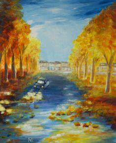 Painting «Automne Vendéen» by Nadine Lière, Acrylic on canvas board, 50 x 70 cm, 2015, grenadine-art.eu