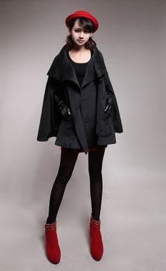 Negro Bat manga abrigo chaqueta de invierno por clothingshow, $65.00