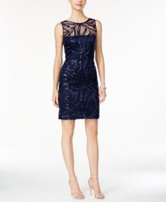 Tahari ASL Sequined Illusion Sheath Dress | macys.com