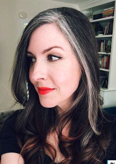 Pin by Luann on Silver Hair in 2019 Messy Short Hair, Short Dark Hair, Long Gray Hair, White Streak In Hair, Light Brown Hair, Light Hair, Hair Color 2018, Hair Color And Cut, Grey Hair Transformation