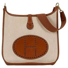Check out this item at One Kings Lane! Hermès Evelyne GM Brown Barenia & Toile