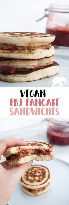 Vegan PBJ Pancake Sandwiches via @elephantasticv