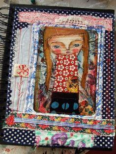 Art journal inspiration: Journal - mixed media fabric art by Susana Tavares, via Flickr
