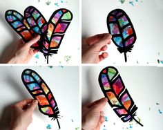 Kids Craft Butterfly Stained Glass Suncatcher Kit with Birds, Bees, Using Tissue…