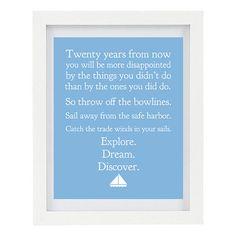 Explore Dream Discover Mark Twain Quote by ColourscapeStudios, $15.00