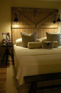 Add some rustic charm to your bedroom. With this barn door headboard.