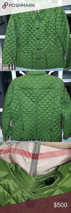 Burberry Brit Jacket Nwot Size L Beautiful Green Quilted From Bloomingdales Burberry Jackets & Coats Puffers