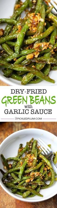 Dry-Fried Green Beans - Simple and Tasty Dry-Fried Green Beans with Garlic Sauce. This is a very easy recipe that only 15 minutes to make from start to finish! Vegetarian, Quick | pickledplum.com