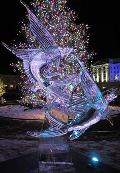 flying fish ice carving