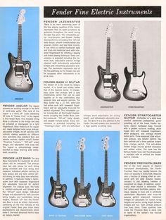 Vintage guitar catalogue scan - page 2 - Fender solid body guitars and basses Fender Vintage, Vintage Guitars, Fender Guitars, Bass Guitars, Electric Guitars, Guitar Amp, Cool Guitar, Vintage Advertisements, Vintage Ads