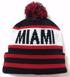 MIAMI POM BEANIE Black Winter Knit Ski Hat Men/Women Heat&MU-Ohio-Redhawk-Colors #KBTradingCo #Beanie