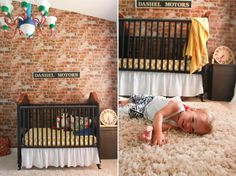 Brick wallpaper in nursery Baby Nursery Diy, Woodland Nursery, Nursery Room, Boy Room, Nursery Ideas, Textured Brick Wallpaper, Enjoying The Small Things, Brick Design, Faux Brick