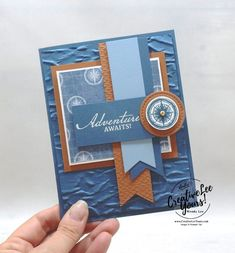 Masculine Birthday Cards, Masculine Cards, Center 3, Stampin Up Karten, Nautical Cards, Send A Card, Travel Cards, Making Greeting Cards, Stamping Up Cards