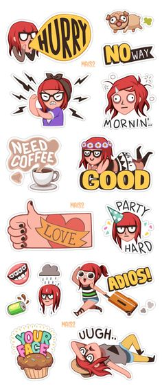 VIBER sticker set 1, Zoe by Alessandra MAiS2 Criseo, via Behance