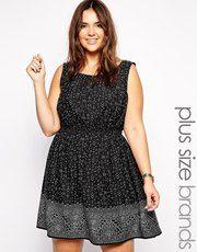 New Look Inspire Border Printed Skater Dress