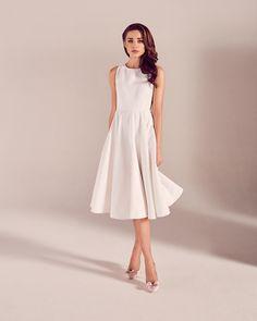 Daisy jacquard cut-out midi dress - White | Dresses | Ted Baker