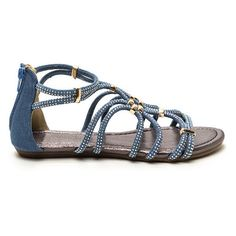 Push The Limit Denim Sandals DENIM ($33) ❤ liked on Polyvore featuring shoes, sandals, blue, sparkly shoes, embellished shoes, metallic sandals, sparkly sandals and synthetic shoes