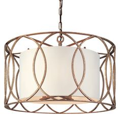 Handcrafted from wrought iron, this 5-light pendant showcases an openwork frame.    Product: PendantConstruction Materia...