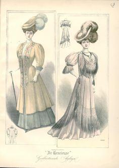 Edwardian coloured fashion plate, sketch, illustration.