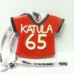 Handmade Polymer Clay Football Jersey Ornament by Craftsbyahrector, $20.00